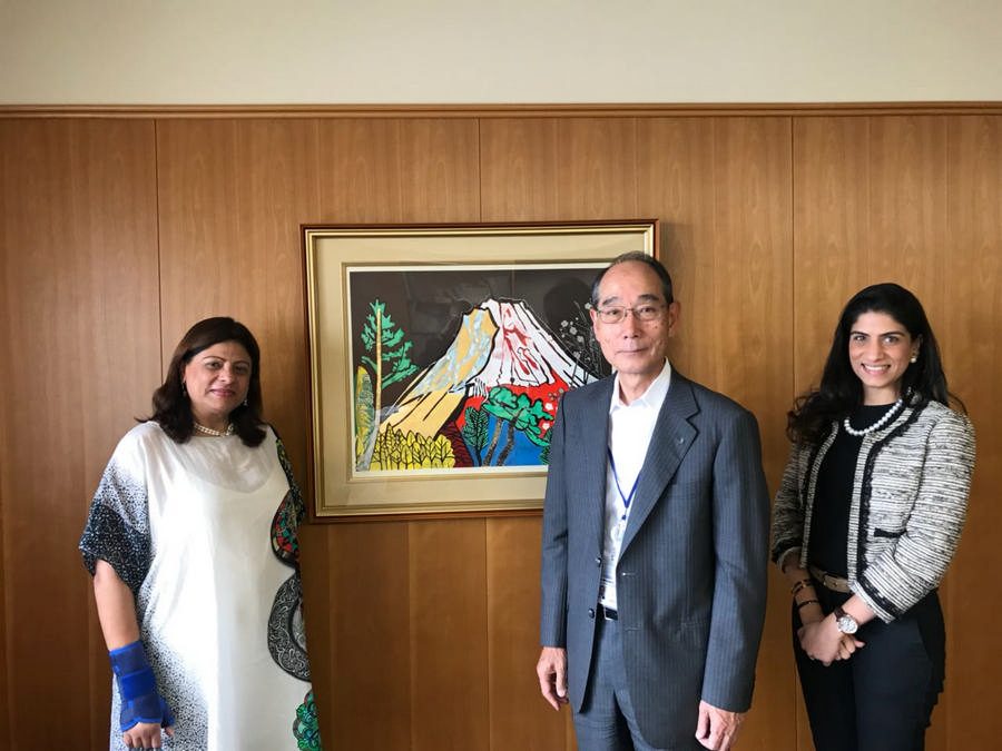 Mrs. Moloobhoy and Ghazalah Moloobhoy with Mr. Furuno in Nishinomiya, Japan.