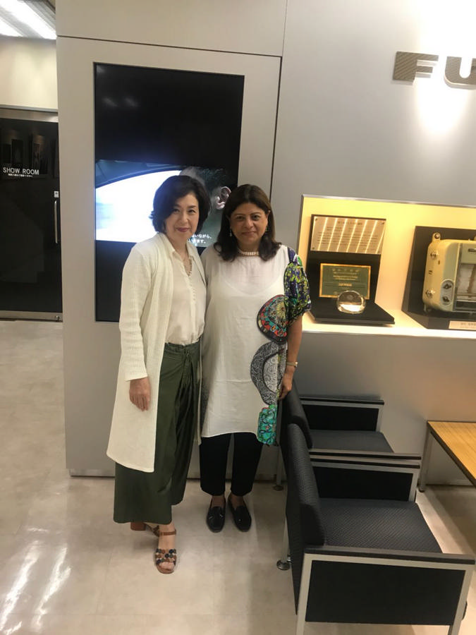 Mrs. Moloobhoy and Mrs. Koike, wife of MD of Furuno