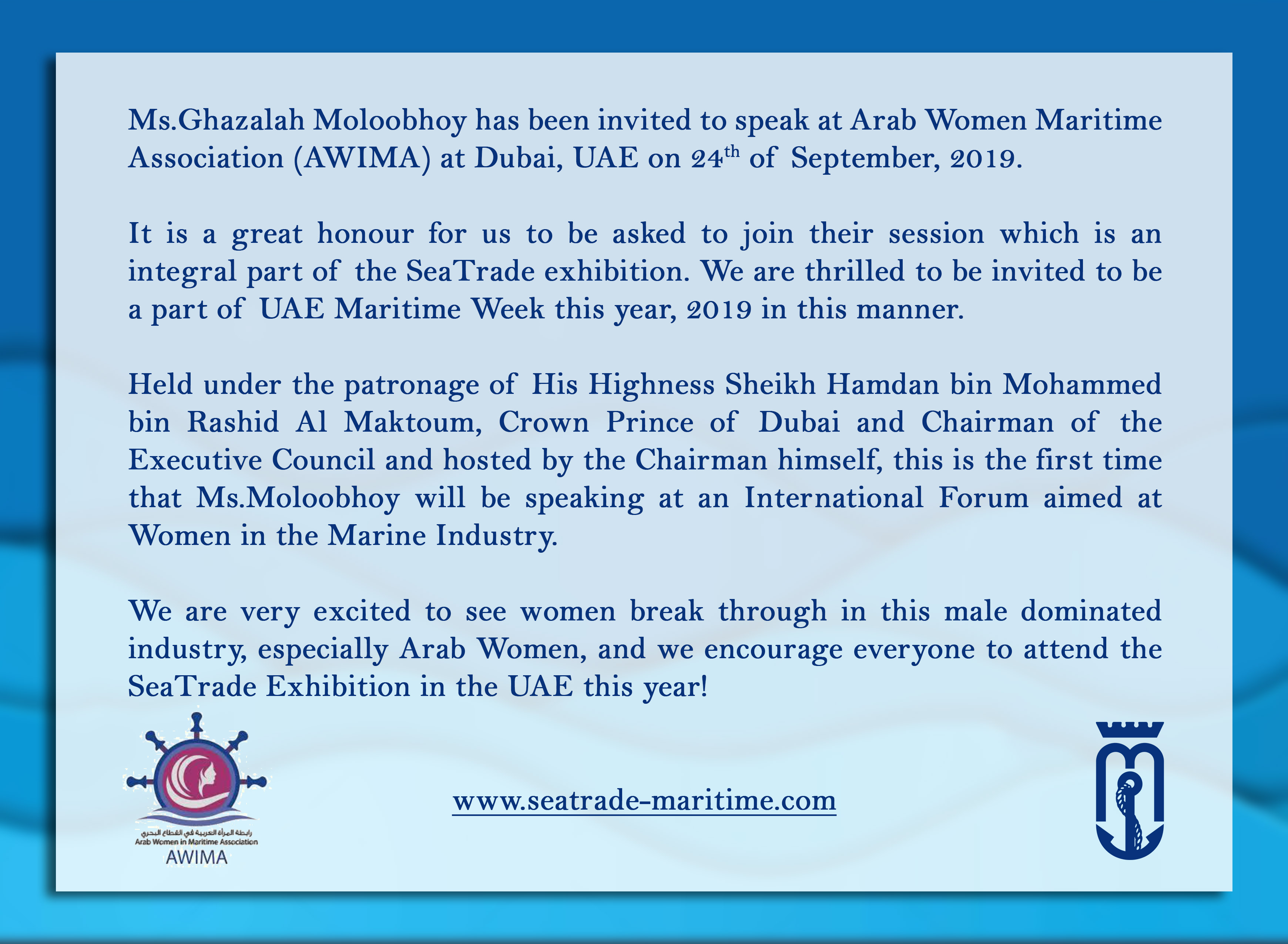 Invitation to speak at Arab Women in Maritime Association (AWIMA)