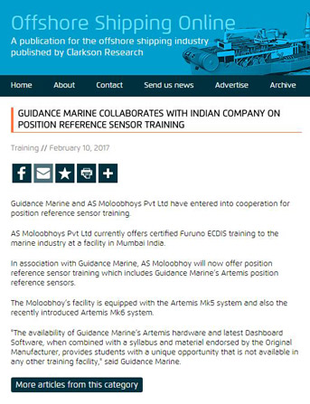 Guidance Marine Collaborates with Indian company on Position Reference Sensor Training