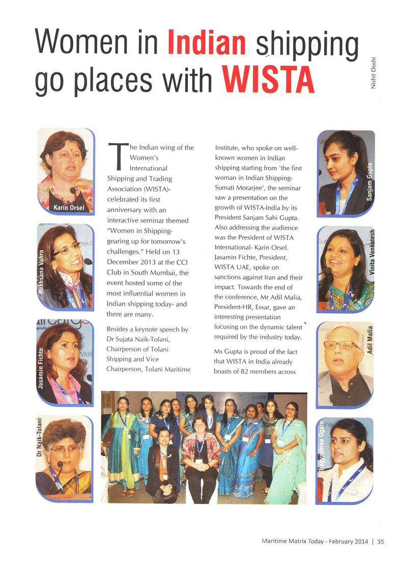 Woman in Indian shipping go places with WISTA