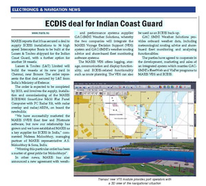 ECDIS deal for Indian Coast Guard